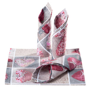 Prostírky patchwork Srdce červené 4 ks