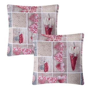 Povlak na polštářek patchwork Srdce červené 2 ks
