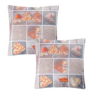 Povlak na polštářek patchwork Srdce oranžové 2 ks