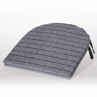 Půlkulatý sedák Indie s mřížkou černošedý 37 x 37 cm