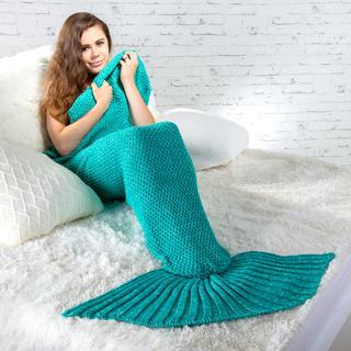 Pletený pléd ve stylu mořské panny zelený