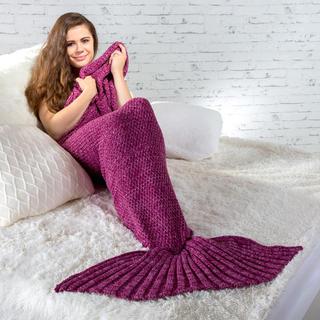 Pletený pléd ve stylu mořské panny fialový