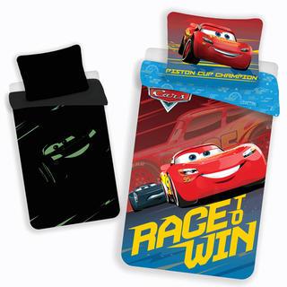 Dětské ložní povlečení CARS RACE AND WIN svítící
