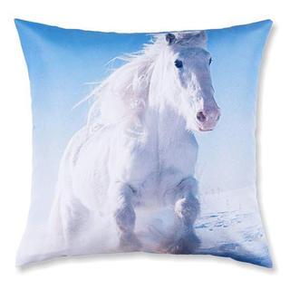 Dekorativní povlak na polštářek bílý běžící kůň