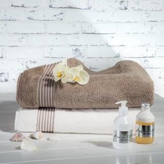Sada ručníků z mikrobavlny smetanová a šedobéžová 50 x 100 cm 2 ks