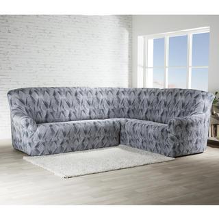 Bielastické potahy ASTRATO šedé, rohová sedačka (š. 350 - 530 cm)