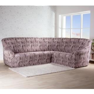Bielastické potahy ASTRATO hnědé, rohová sedačka (š. 350 - 530 cm)