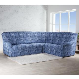Bielastické potahy ASTRATO modré rohová sedačka (š. 350 - 530 cm)