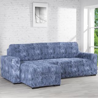 Bielastické potahy ASTRATO modré, sedačka s otomanem vlevo (š. 170 - 200 cm)