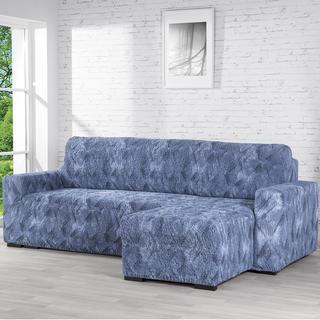 Bielastické potahy ASTRATO modré sedačka s otomanem vpravo (š. 170 - 200 cm)