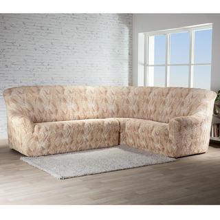 Bielastické potahy ASTRATO béžové rohová sedačka (š. 350 - 530 cm)