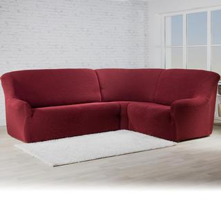 Bielastické potahy ROMA bordó rohová sedačka (š. 350 - 530 cm)