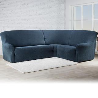 Bielastické potahy ROMA modrá, rohová sedačka (š. 350 - 530 cm)