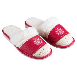 Domácí kožené boty s ovčím rounem červené