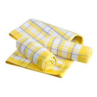 Bavlněné kuchyňské utěrky káro žluté 3 ks