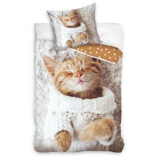 Dětské ložní povlečení kočička ve svetru