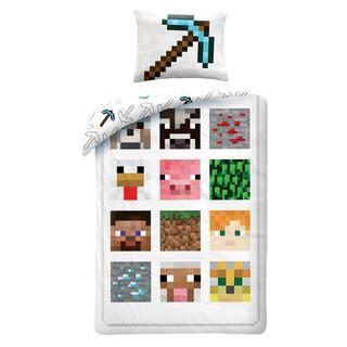 Dětské ložní povlečení Minecraft bílé