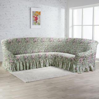 Napínací potahy s volánem FIORELA zelená, rohová sedačka (š. 350 - 530 cm)