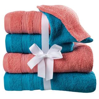 Sada froté ručníků, osušek a žínek korálovo-tyrkysová 6 ks