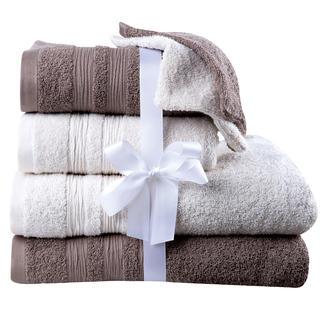 Sada froté ručníků, osušek a žínek smetanovo-hnědá 6 ks