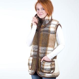 Dámská vesta s límcem z ovčí vlny