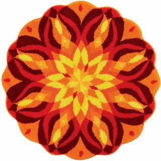 Koberec s protiskluzovou úpravou Mandala SEBEREALIZACE - oranžový