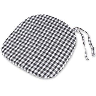 Oblý sedák Indie černobílý s kostičkami 37 x 37 cm