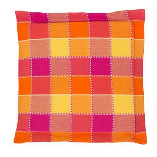 Sedák Indie s ozdobným lemem kostka oranžový 38 x 38  cm