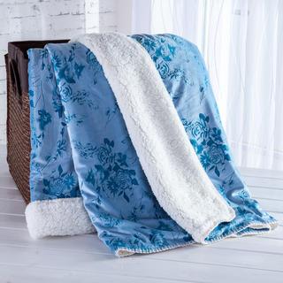 Beránková deka s embosovaným vzorem modrá 140 x 200 cm
