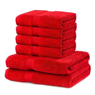 Sada froté ručníků a osušek MARINA červená 6 ks