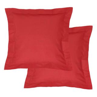 Bavlněné povlaky na polštářky s lemem, červené 2 ks