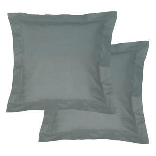 Bavlněné povlaky na polštářky s lemem, tmavě šedé 2 ks
