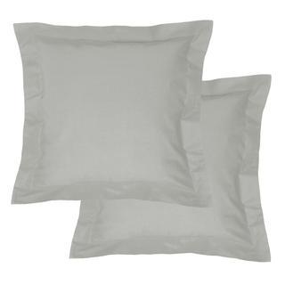 Bavlněné povlaky na polštářky s lemem, světle šedé 2 ks