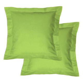 Bavlněné povlaky na polštářky s lemem, zelené 2 ks