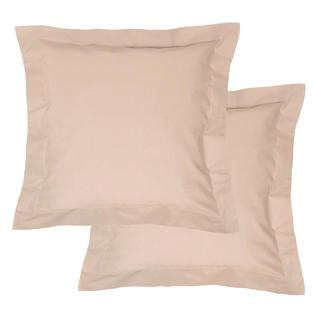 Bavlněné povlaky na polštářky s lemem, béžové 2 ks