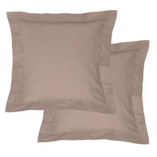 Bavlněné povlaky na polštářky s lemem, hnědé 2 ks