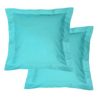Bavlněné povlaky na polštářky s lemem, tyrkysové 2 ks