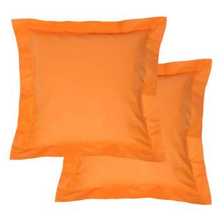 Bavlněné povlaky na polštářky s lemem, oranžové 2 ks
