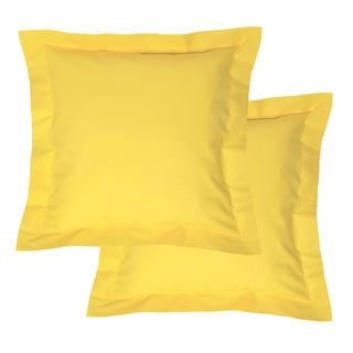 Bavlněné povlaky na polštářky s lemem, žluté 2 ks