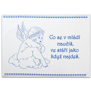 Bavlněná utěrka se staročeským příslovím Anděl, modrá