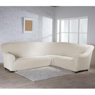 Bielastické potahy BUKLÉ smetanová, rohová sedačka (š. 350 - 530 cm)