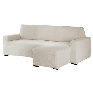 Bielastické potahy BUKLÉ smetanová, sedačka s otomanem vpravo (š. 170 - 200 cm)