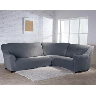 Bielastické potahy BUKLÉ šedá, rohová sedačka (š. 350 - 530 cm)