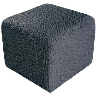 Bielastické potahy BUKLÉ šedá, taburet (40 x 40 x 40 cm)