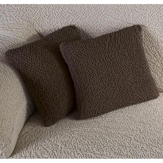 Bielastické potahy BUKLÉ tabáková, povlaky na polštářky 2 ks (40 x 40 cm)