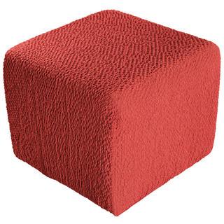 Bielastické potahy BUKLÉ korálová, taburet (40 x 40 x 40 cm)