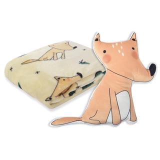 Sada deky a polštářku CARTOON PETS Sedící liška 2 ks