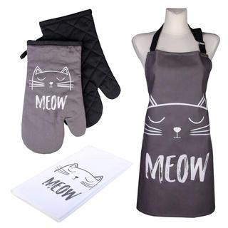 Kuchyňská sada CATS Meow 2x chňapka, utěrka a zástěra