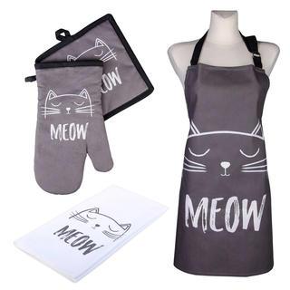 Kuchyňská sada CATS Meow chňapka, podložka, utěrka a zástěra