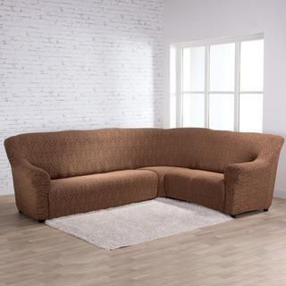 Strečové potahy CASTELO hnědočerné, rohová sedačka (š. 300 - 470 cm)